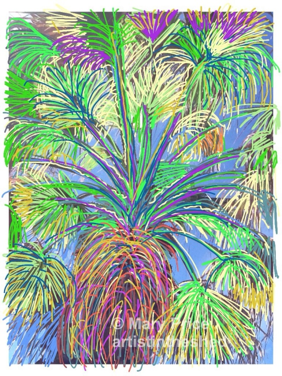 Los Gigantes Palm drawn with Brushes App