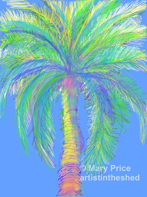 Majorca Palms drawn with Brushes App