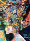 A headdress of dreams - detail - the Dreaming Reader - acrylic on canvas 2015 ©Mary Price 2015
