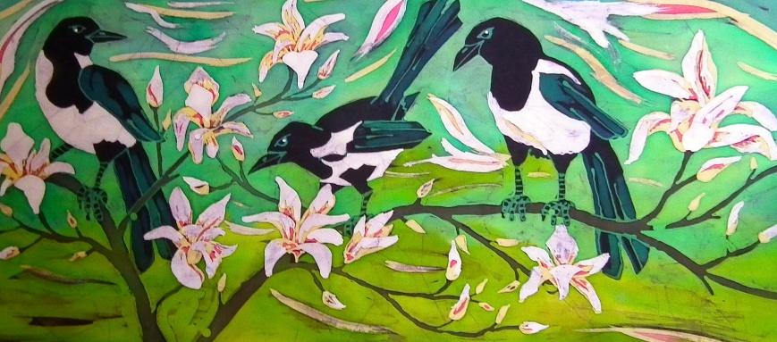 magpies in the magnolia